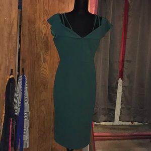 Green off the shoulders dress